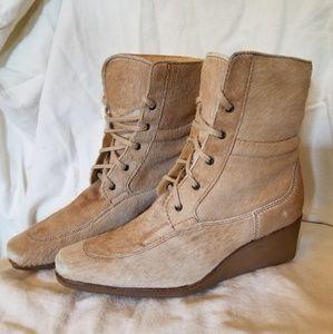 Hogan ponyhair wedge boots size 7